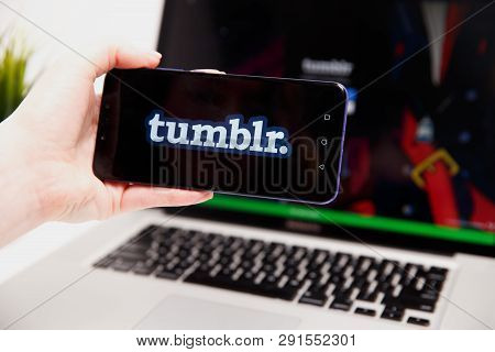 Tula, Russia - February 18, 2019: Tumblr Logo Displayed On Smartphone