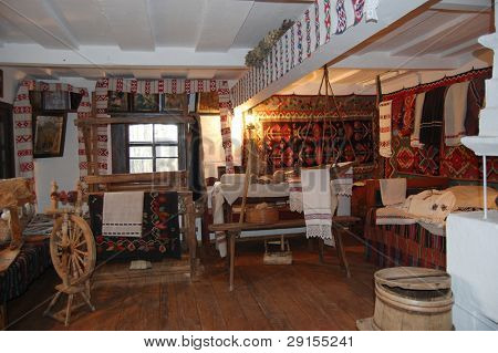 Ukrainian historical peasant dwelling interior with various home articles.  (museum)
