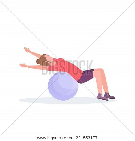 Sporty Woman Lying Fitness Ball Girl Doing Exercises Training In Gym Aerobic Pilates Workout Healthy