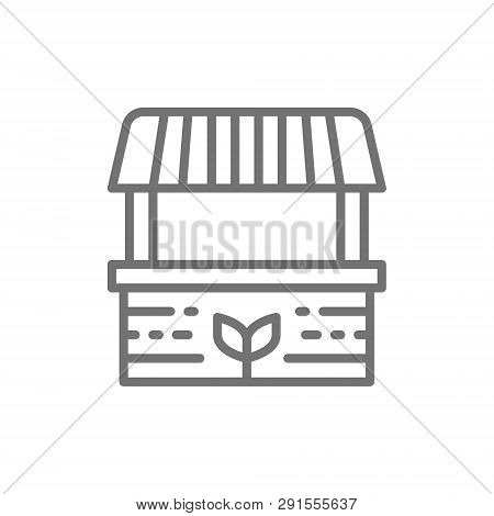 Farmer Stall, Food Market, Striped Awning Line Icon.
