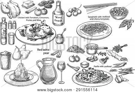 Creative Conceptual Vector Set. Sketch Hand Drawn Different Mediterranean Dishes Pasta Chicken Wine