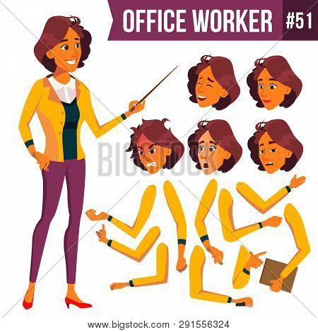 Office Worker . Woman. Successful Officer, Clerk, Servant. Business Woman Worker. Face Emotions, Var