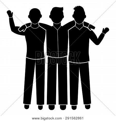 Three Friend Brotherhood Icon. Simple Illustration Of Three Friend Brotherhood Icon For Web Design I