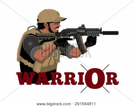 Warrior Logo With A Gun In His Hands