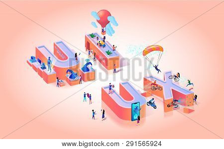 Vector Illustration Ux Experience Ui Interface. Little People Are In Big Letters. Actual Details And