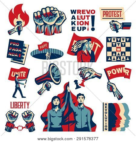 Revolution Socialism Promoting Constructivist Set With Power Liberty Unity Struggle For Freedom Symb