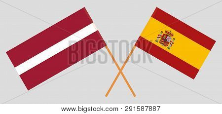 Spain And Latvia. The Spanish And Latvian Flags. Official Colors. Correct Proportion. Vector Illustr
