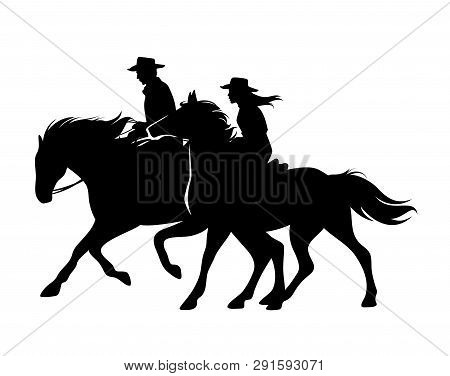 Horseback Cowboy And Cowgirl - Man And Woman Riding Horses Wild West Theme Black And White Vector Si