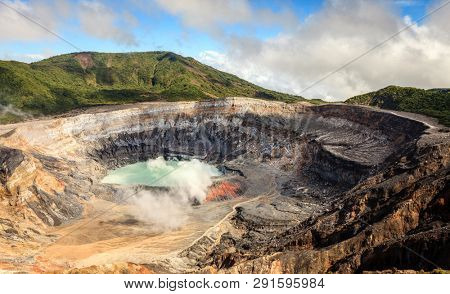 Acid lake in the crater of Poas Volcano in Costa Rica