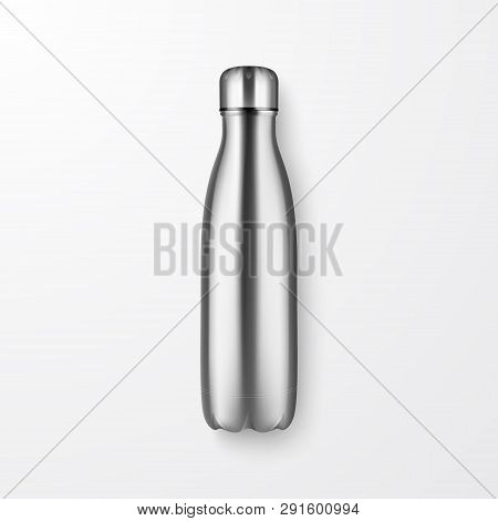 Vector Realistic 3d Silver Empty Glossy Metal Reusable Water Bottle With Silver Bung Closeup On Whit