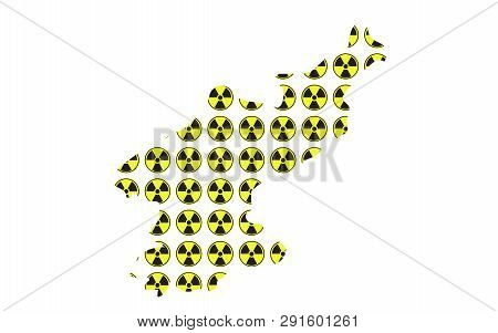 Concept Of Radioactive Map Of North Korea Illustration Vector