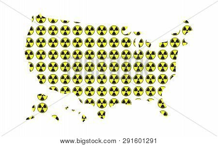 Concept Of Radioactive Map Of Usa Illustration Vector