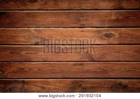 Dark Wood Texture Background. Tinted Wooden Surface With Natural Pattern With Vignette. Grunge Wallp