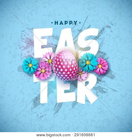 Happy Easter Holiday Design With Painted Egg And Spring Flower On Blue Background. Vector Internatio