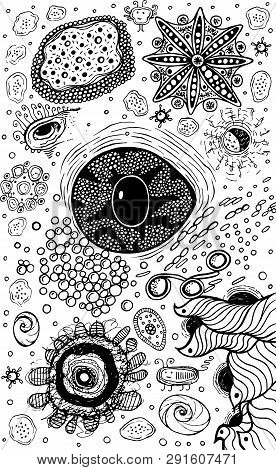Psychedelic Abstract Ink Abstract Sketch With Eye. Surreal Weird Line Drawing For Design, Coloring P