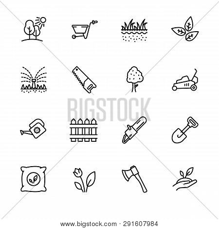 Icon Set Gardening, Agriculture And Horticulture. Contains Such Symbols Gardening Tools For Growing