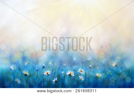 Surprisingly Beautiful Colorful Floral Sunny Background Oil Painting. White Flowers In Rays Of Summe
