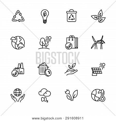 Simple Icon Set Ecology And Nature Care. Protection And Preservation Of The Environment. Conservatio