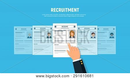 Hand Businessman Choose Resume Woman . Personnel Resume. Headhunting Concept. Recruitment And Human