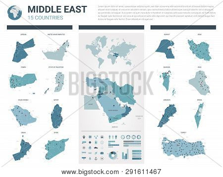 Vector Map Set.  High Detailed 15 Map Of Middle East  Countries With Administrative Division And Cit