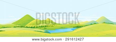 Big Panorama Of Fields And Meadows With Spruce Forest Around Mountain Valley, Summer Countryside Wit