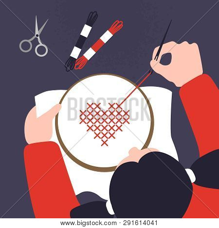 Top View Of A Table With Cross Stitching Hands. Illustration Of Sewing Workshop. Creative Craftwork