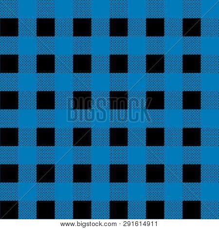 Cerulean Blue Lumberjack Buffalo Plaid Pattern Eps 10