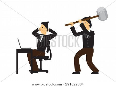 Businessman Trying To Attack His Co-worker In His Office. Concept Of Corporate Sabotage Or Business