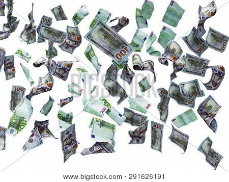 New One Hundred Dollars And One Hundred Euro Banknotes Fall On The Floor 3d Render On White Backgrou