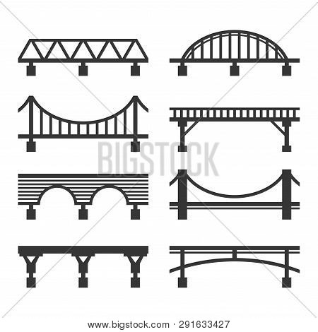 Bridge Icon Set On White Background. Vector
