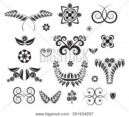 Set Of Design Elements Curls, Spirals, Banner And Squiggles
