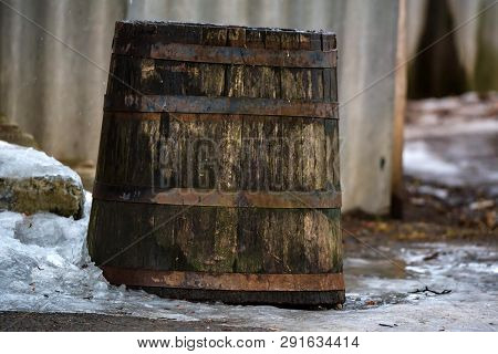 View Of Old Wooden Barrel Outdoors In Winter