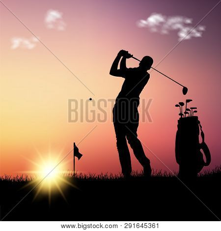 Silhouette Of Golfer With Bag At Sunset Template Vector Eps 10