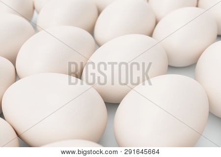 White Eggs. Background Of Eggs. Concept Happy Easter. Eggs As A Symbol Of The Holiday. Background Fo