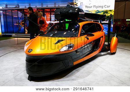 Geneva, Switzerland - March 10, 2019: Flying Car Pal-v Liberty Presented At The Annual Geneva Intern