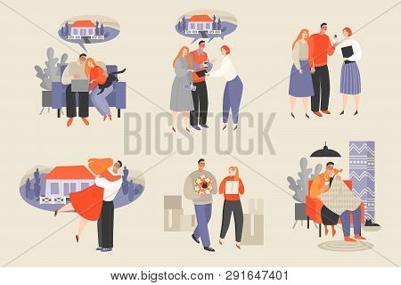 Set Of Vector Illustrations Of A Couple Buying A New Home. Choosing A House On The Internet, Meeting
