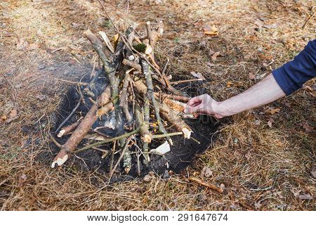 Bonfire In The Spring Forest On The Background Of Withered Grass. In The Frame Of The Hand Of A Man.