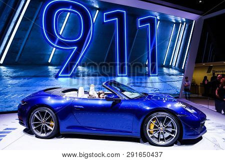 Geneva, Switzerland - March 10, 2019: Sportscar Porsche 911 Carrera 4s (992) Presented At The Annual