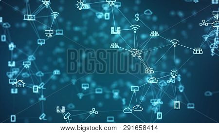 Global Network Concept. Iot(internet Of Things). Ict(information Communication Network). Network Of