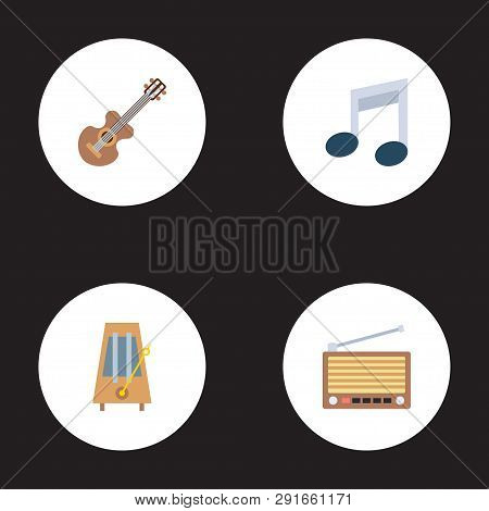 Set Of Melody Icons Flat Style Symbols With Retro Tuner, Metronome, Guitar And Other Icons For Your