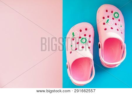Girls Rubber Sandals Isolated On The Bright Background.kids Beach Shoes. Colorful Footwear. Aqua Sho