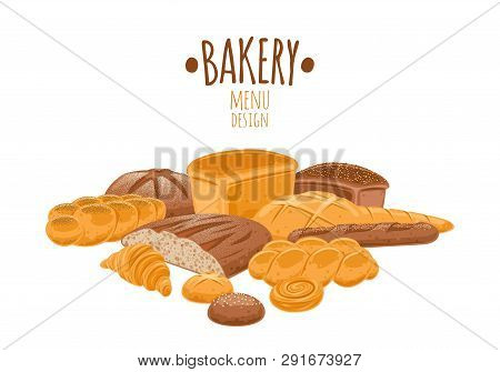 Bread Icons Set. Vector Bakery Pastry Products - Rye, Wheat And Whole Grain Bread, French Baguette,