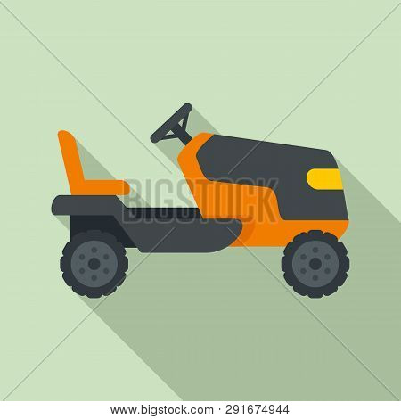 Tractor Grass Cutter Icon. Flat Illustration Of Tractor Grass Cutter Vector Icon For Web Design