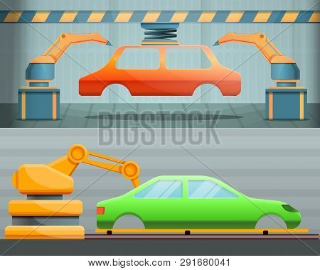 Car Factory Banner Set. Cartoon Illustration Of Car Factory Vector Banner Set For Web Design