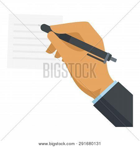 Businessman Hand Writing Icon. Flat Illustration Of Businessman Hand Writing Vector Icon For Web Des