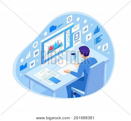 Isometric Programmer Coding New Project Sitting On Computer With Command Line Web Development, Progr