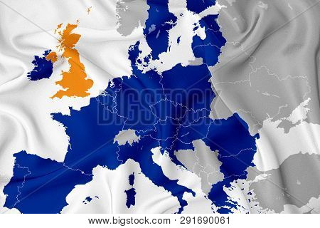 Brexit On The Map Of Europe: Separation Of Great Britain From Europe. Map Of The States Of Europe In