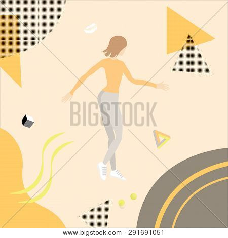 Young Woman Flies In Weightlessness Surrounded Corall Abstract Background