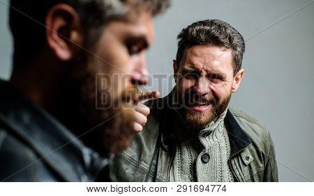 Man Argue While Guy Feel Sorry. Feel Guilty. Fail And Misunderstanding. Men Failed Deal Argue. Failu