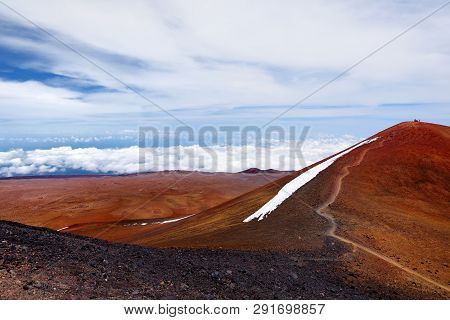 The Summit Of Mauna Kea, A Dormant Volcano On The Island Of Hawaii. Stunningly Beautiful Red Stone P